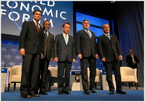 Fareed Zakaria (FLTR), Editor, Newsweek International, USA, Kgalema Motlanthe, President of South Africa, Han Seung-Soo, Prime Minister of the Republic of Korea, Gordon Brown, Prime Minister of the United Kingdom, Felipe Calderón, President of Mexico