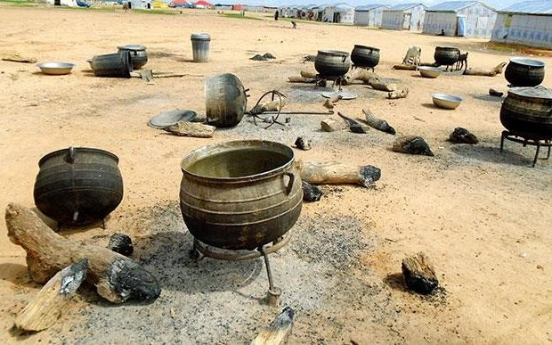 The picture above is of empty pots in an open kitchen at Bakassi camp where food has not been cooked for IDPs for days