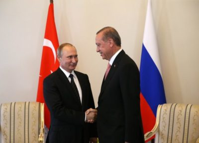 SAINT PETERSBURG, RUSSIA - AUGUST 9:  (RUSSIA OUT) Russian President Vladimir Putin greets Turkish President Recep Tayyip Erdogan during their meeting in Konstantin Palace, August,9, 2016 in Strenla, Saint Petersburg. The President of Turkey is having a one-day visit to Putin's hometown. (Photo by Mikhail Svetlov/Getty Images)